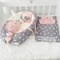 Jaju Baby Babynest Gray and Powder Star Orthopedic Luxury Baby Nest 5 Piece Set Baby Bed Baby Sleeping Set Baby Crib Bedding Set