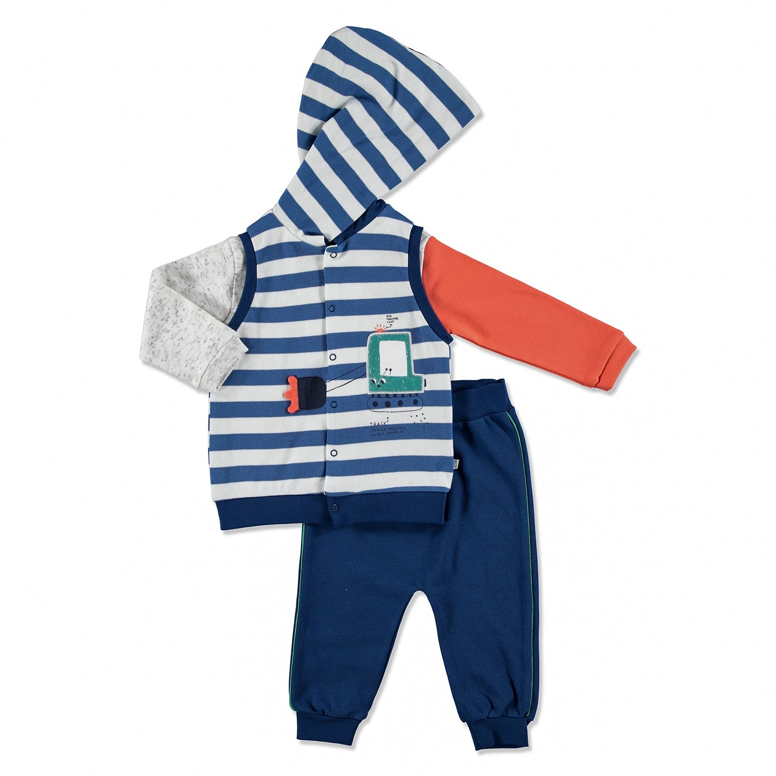 Ebebek Mymio Summer Baby Boy Scoop Sweatshirt Vest Pant 2 Pcs Set