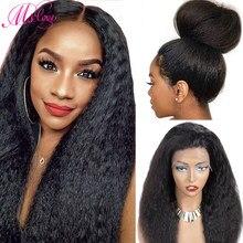 Crépus perruque droite dentelle avant cheveux humains perruques 4x4 fermeture 13x4 360 dentelle frontale naturelle brésilienne perruque pour les femmes Ms Love