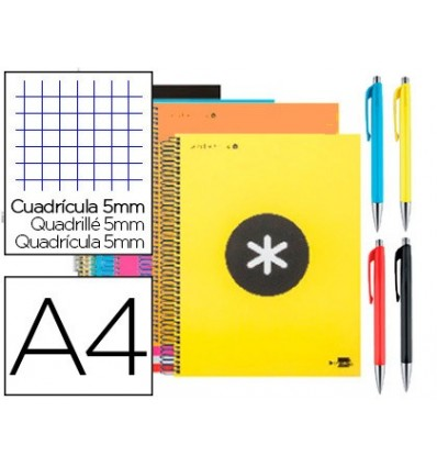 SPIRAL NOTEBOOK LEADERPAPER A4 MICRO ANTARTIK LINED TOP 120H 100G TABLE 5MM PROMO CARAN D ACHE COLORS ASSORTED 15 Units