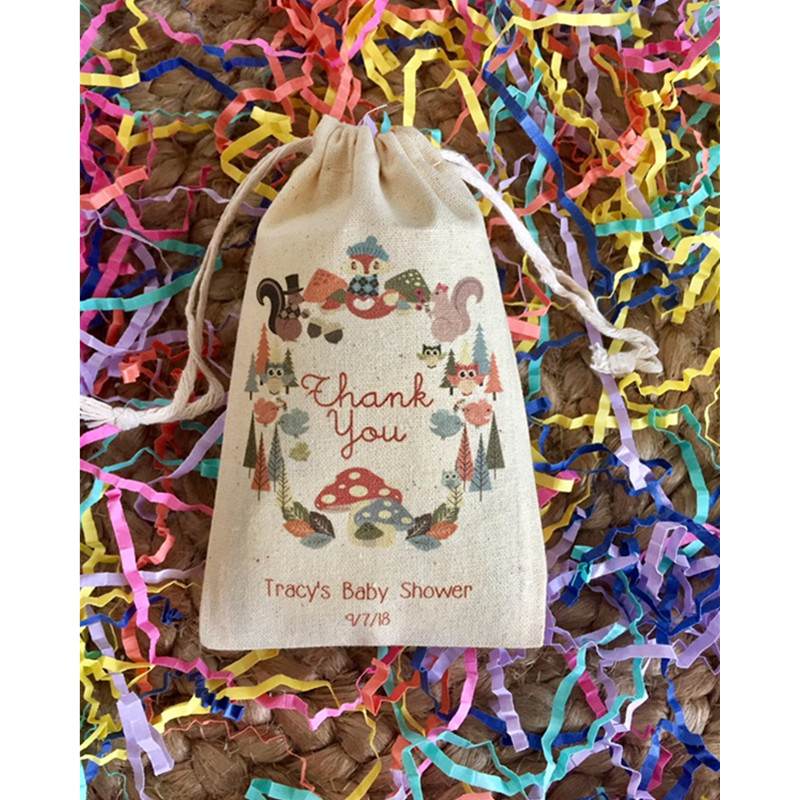 Woodland Theme Forest Animal Party Bag Customize Cotton Birthday Favor Gift Bag Welcome Drawstring Bags Treat Bag Thank You Bags
