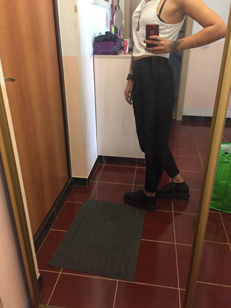 Plus Size Women Autumn Winter Pants Personality Elastic Waist Black Harem Pants Tide Casual Spliced Trousers photo review