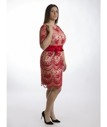 DRESS MERCEDES ROSEMARY tul EMBROIDERY RED plus short dress and cool for summer for stepping out to events in 2020