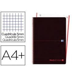Notes spiralny OXFORD EBOOK 1 pokrywka plastikowa DIN A4 + 80 H siatka 5 MM czarne kolory czerwone 5 sztuk|Akcesoria do teczek na dokumenty|   -