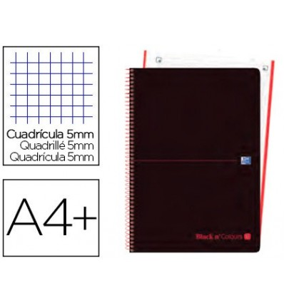SPIRAL NOTEBOOK OXFORD EBOOK 1 LID PLASTIC DIN A4 + 80 H GRID 5 MM BLACK'N COLORS RED 5 Units