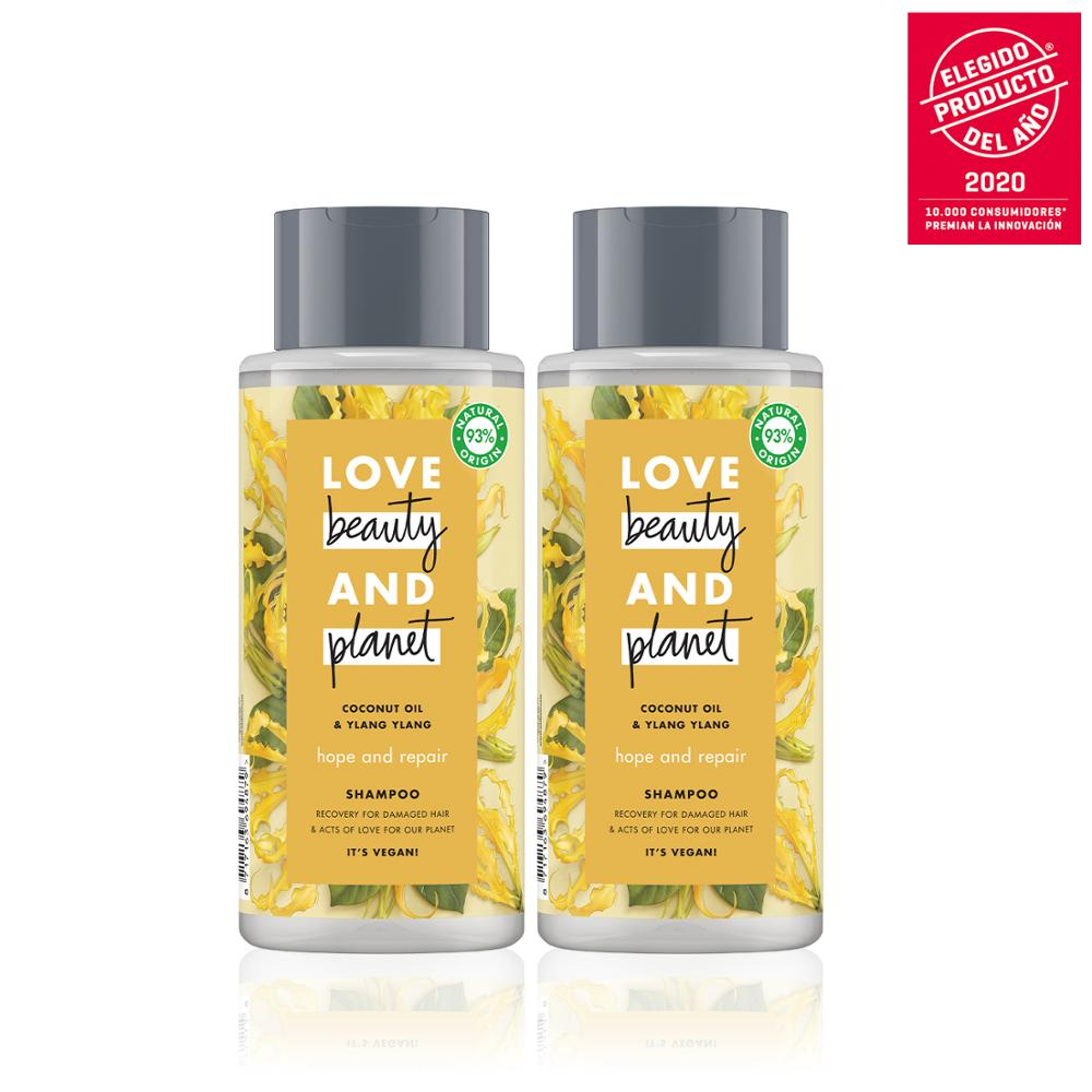 LOVE BEAUTY AND PLANET Set 2 shampoos for thin hair other 400ml, vegan Coconut Oil & Ylang Ylang, Package 100% recyclable image