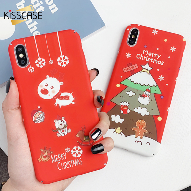 KISSCASE Luminous Christmas Case For iPhone 11 Pro 7 8 6 6s XR XS X MAX Embossed Back Cover Max 10 Plus