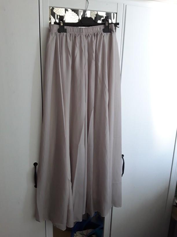 Summer Women Maxi Skirt Two Layer Boho High Wasit Women Long Chiffon Skirt Saias Floor Length Women White Skirt photo review