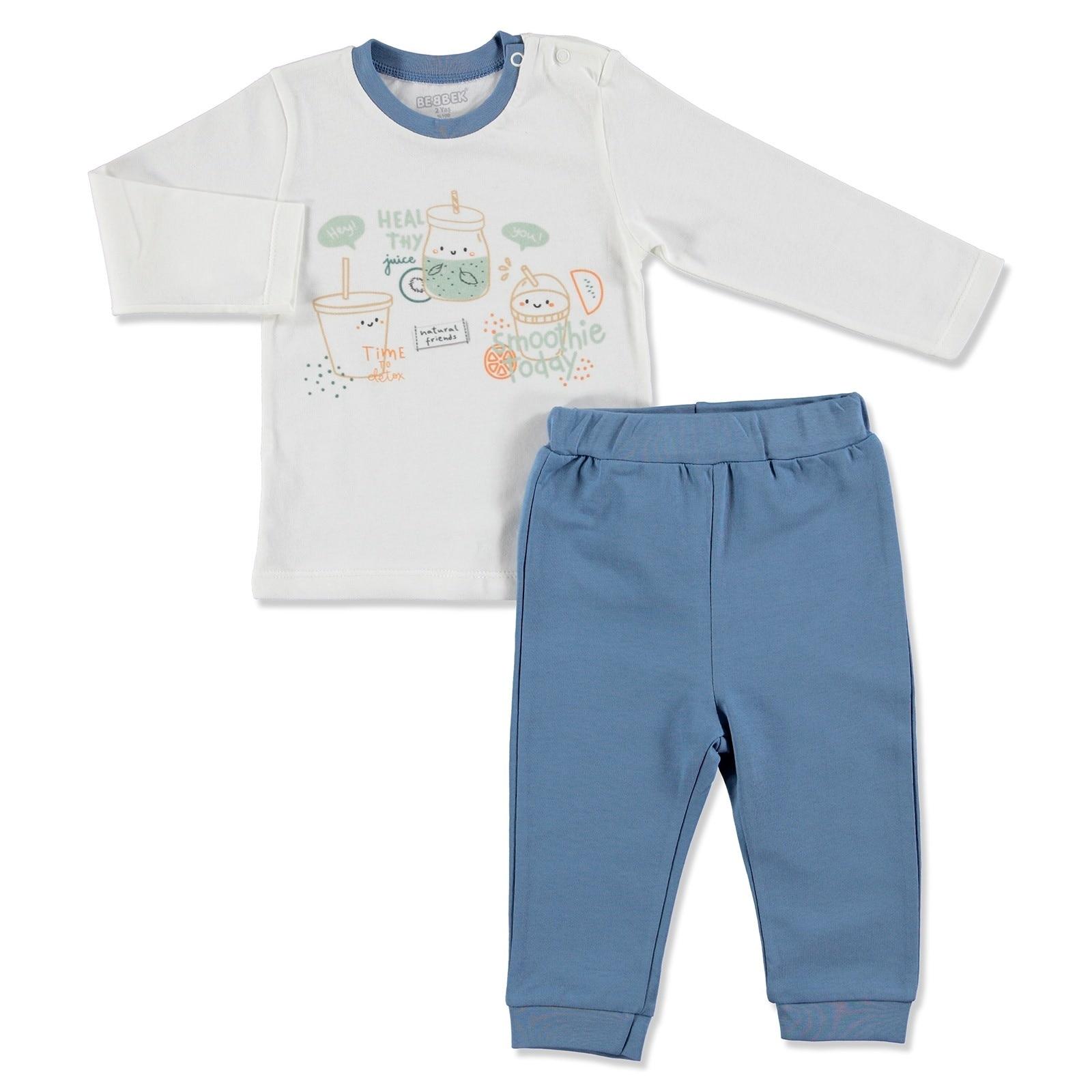 Ebebek Bebbek Summer Baby Boy Natural Sweatshirt Pant 2 Pcs Set