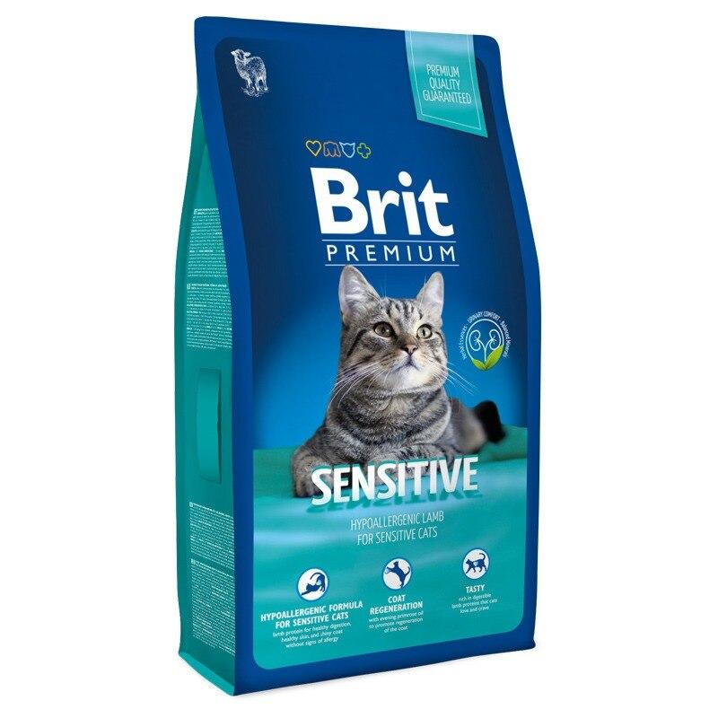 Корм для кошек Brit Premium Cat Sensitive для взрослых кошек с чувствительным пищеварением, Баранина, Cat Food, For Cats, 1,5 кг