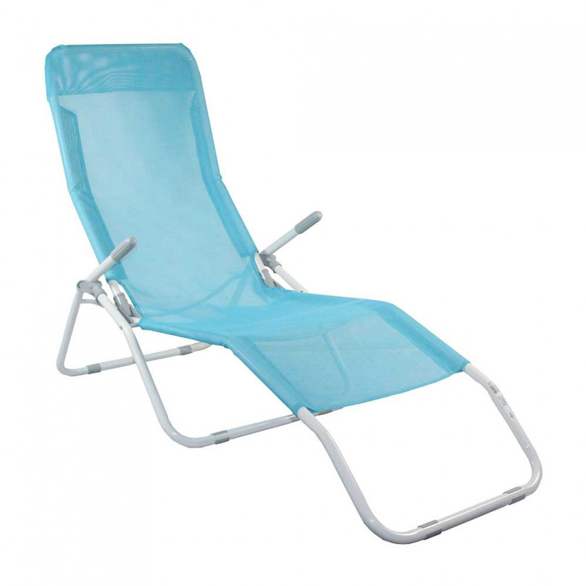 Lounger Adjustable 2 Position Blue Textile GH91