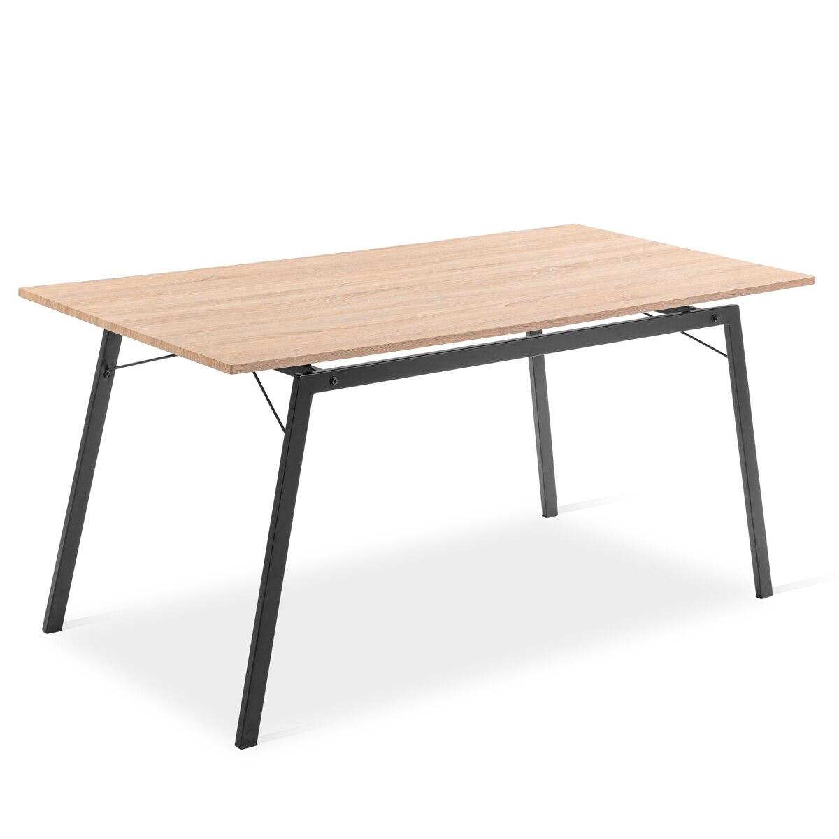 Table For Dining Room Fashion Design Rectangular Wood Finish Mdf And Black, Modern GASHIRA Model For Salon, Kitchen 160x80x75cm
