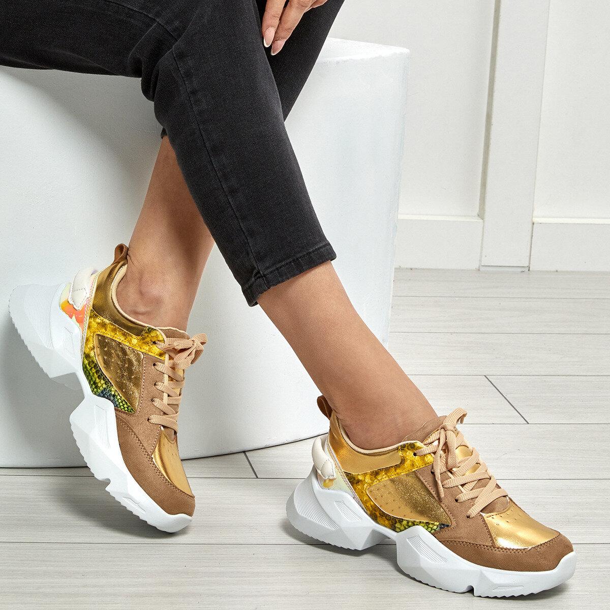 FLO Gold Women Sneaker Women Platform Chunky Sneakers Lace-up Casual Vulcanize Shoes Luxury Designer Old Dad Female Fashion Sneakers 2020 BUTIGO POLKA DOT