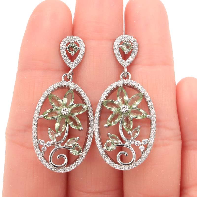 40x13mm SheCrown Flower Creatd Green Amethyst White CZ Gift For Girls Silver Earrings 40x13mm in Earrings from Jewelry Accessories