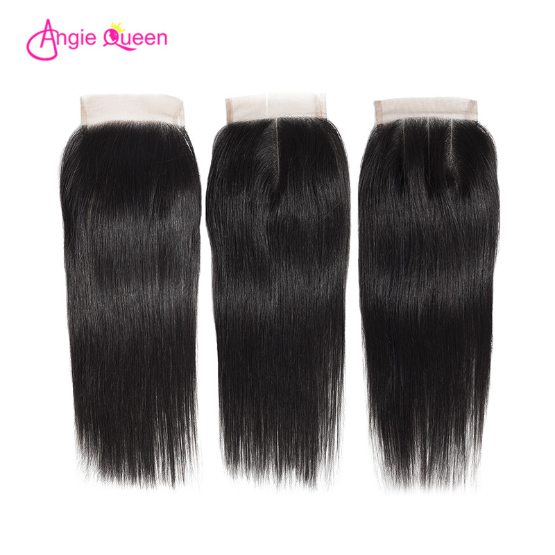 ANGIE QUEEN Brazilian Hair Closure Straight Lace Closure 100% Human Hair Closure Remy Hair Lace Closure 150% Free Part 8-20 Inch