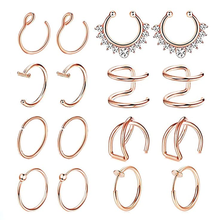 1 Pcs Rvs Fake Neus Ring Cheater Labret Piercing Ring Fake Neus Piercing Hoop Nose Clip Faux Kraakbeen Earring tragus(China)