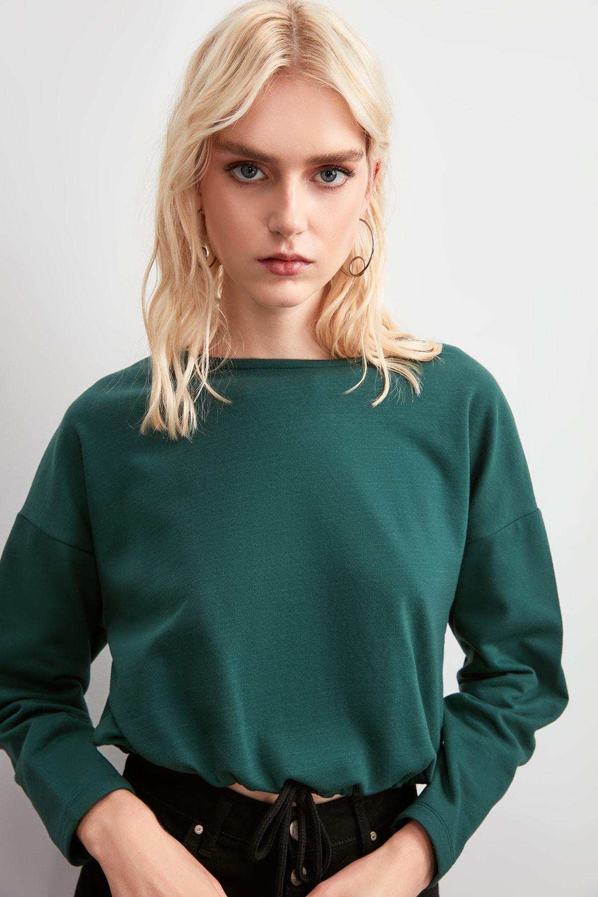 Trendyol Lacing Detailed Knitted Sweatshirt TWOAW20SW0771