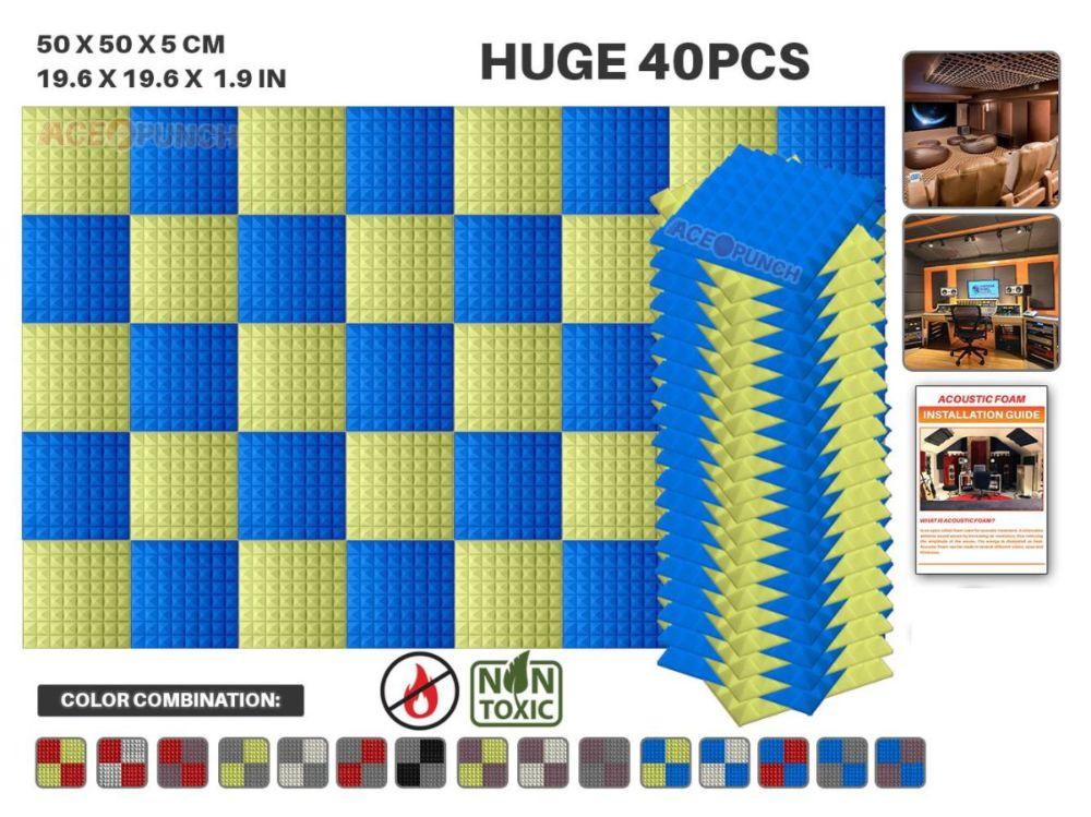 """Arrowzoom 40 pièces Pack 19.6*19.6*1.9 """"Studio Absorption acoustique pyramide mousse acoustique 11 combinaisons de couleurs KK1034-in Stickers muraux from Maison & Animalerie    1"""