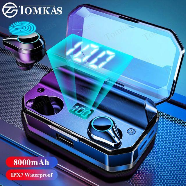 TOMKAS 8000mAh TWS Earphones 9D Stereo Bluetooth 5.0 Wireless Earphones IPX7 Waterproof Headphone LED Display with Mic Touch Key 1