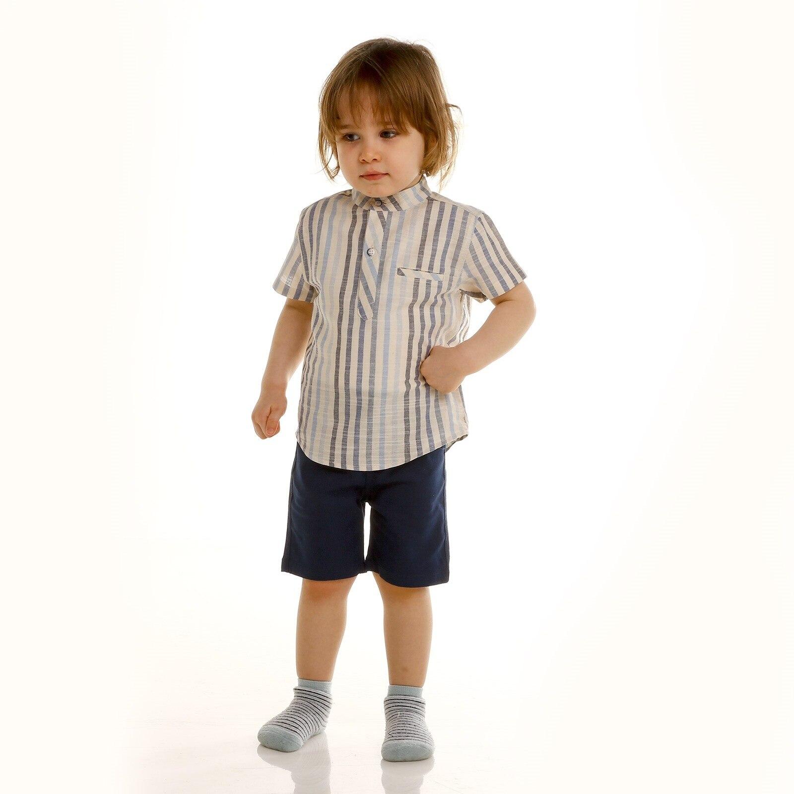Ebebek Verscon Baby Boy Texture Shirt Short Set 2 Pcs