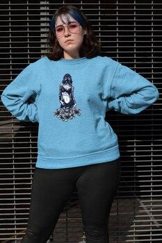 Angemiel Wear Gas Masker 매력적인 소녀 Blue Women Sweatshirts