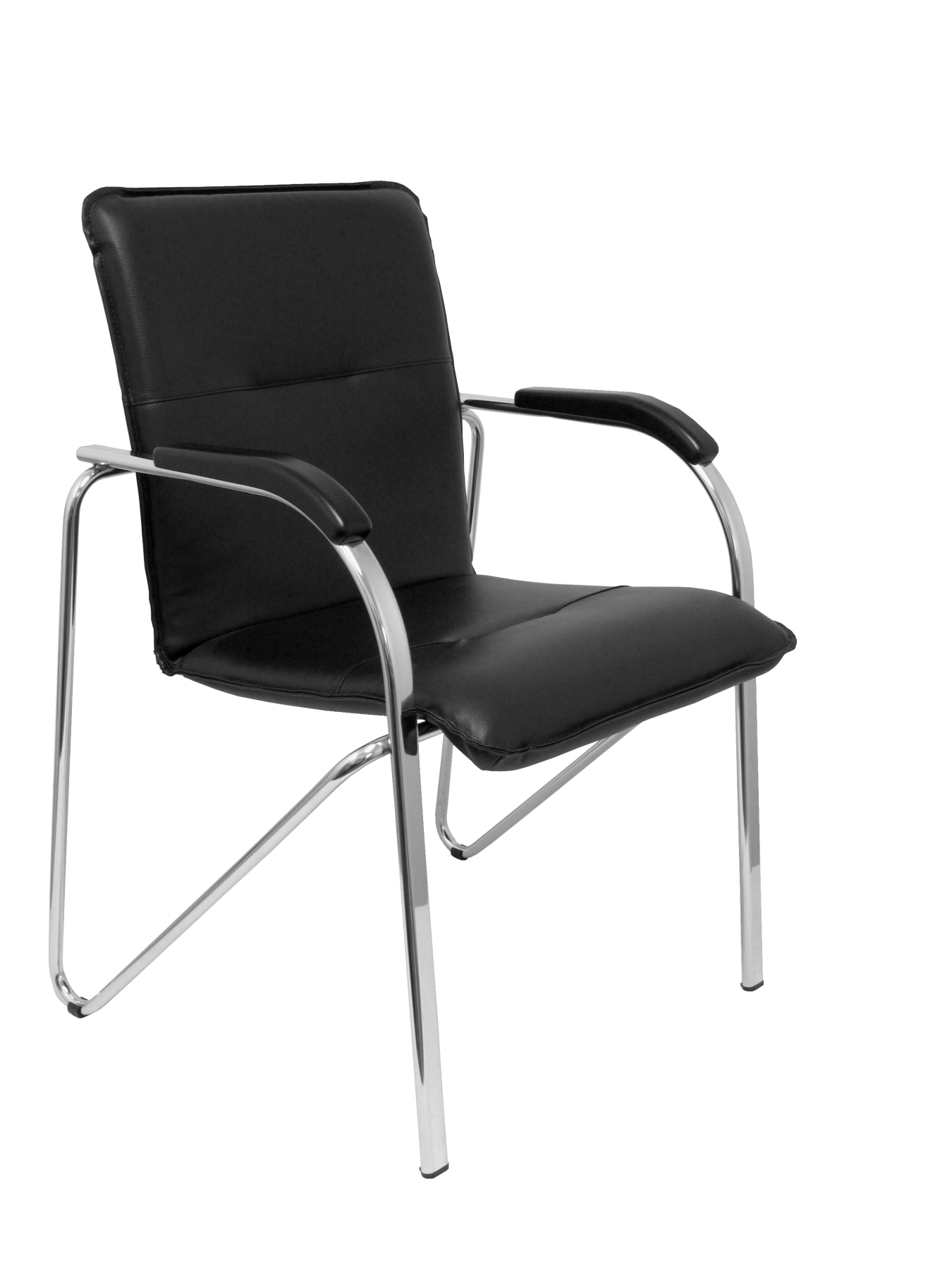 Visitor Chair 4's Topsy, With Arms And Chrome Bold-up Seat And Backstop Structure Upholstered In Tissue Similpiel Black PI