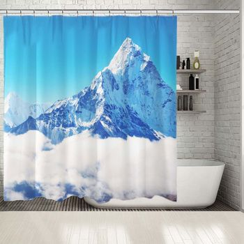 Shower Curtain Mountain Peak Everest Highest in Mount the World National Park Nepal Snows Sky Clouds View White Blue