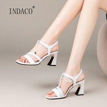 Women Sandals Summer Shoes Ladies Leather High Heels White Black 2020 New