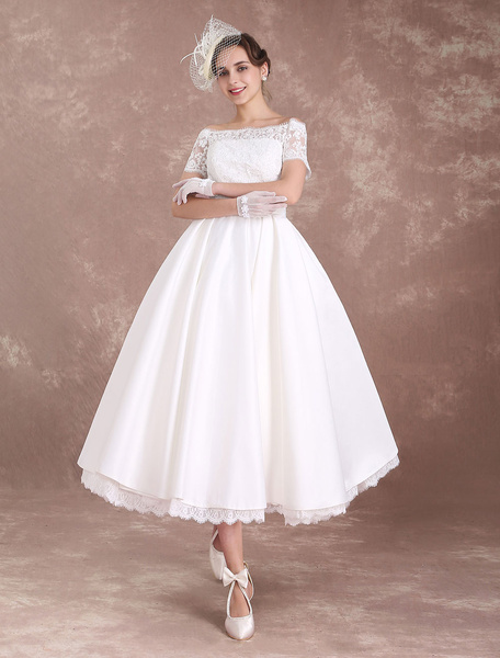 Short Wedding Dresses Vintage Bridal Dress 1950's Bateau Lace Short Sleeve Ivory Bow Sash Tea Length Wedding Reception Dress