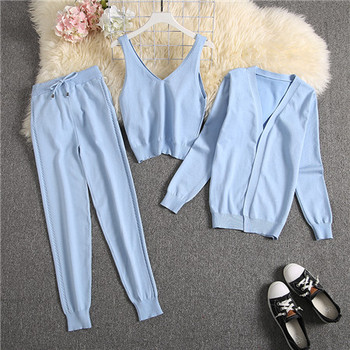 ALPHALMODA Spring Candy Color Knitted Cardigans + Camisole + Pants 3pcs Fashion Suit Women Seasonal Stylish Clothes Set 23