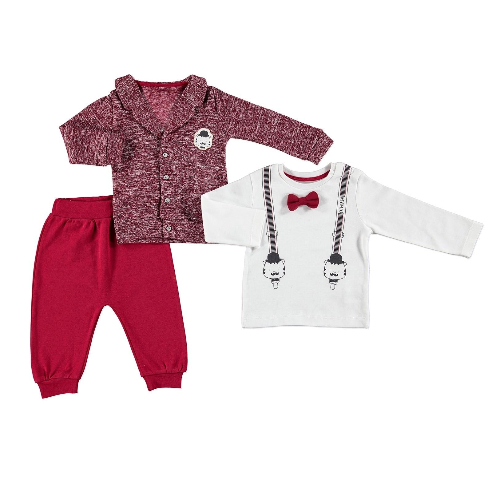 Ebebek Mymio Monsieur Baby Printed Sweatshirt Cardigan Trouser Set 3 Pcs