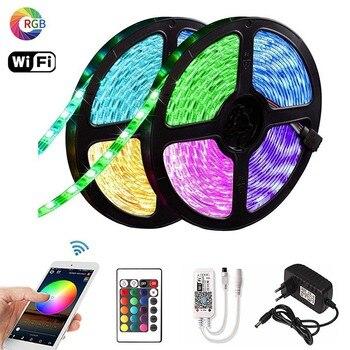 цена на 5050 SMD 5m RGB LED Light Strip Flexible Ribbon for Home Decor Waterproof Strip Light +24 Key/44 Key Remote Control+Adapter