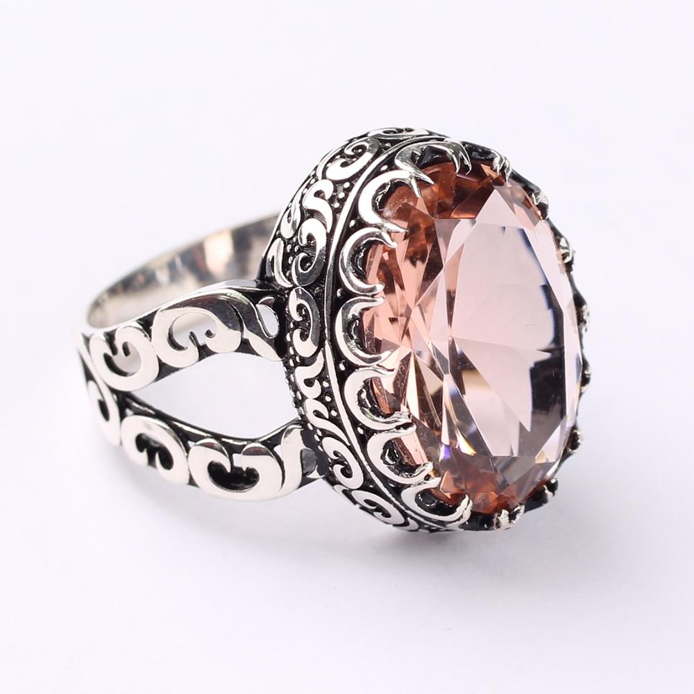 Handmade Mens Silver Pink Morganite Ring, Pink Large 925 Silver Ring, Silver Handmade Oval Morganite Ring