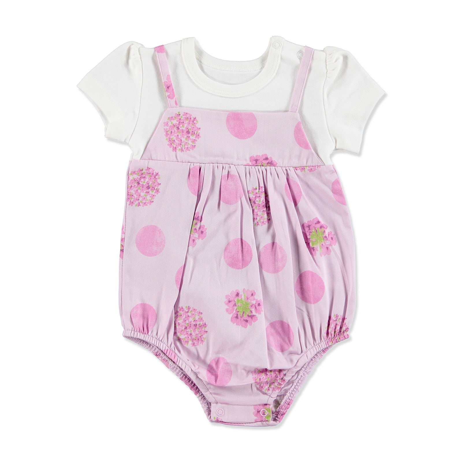 Ebebek HelloBaby Summer Baby Girl Dot Flower Bodysuit