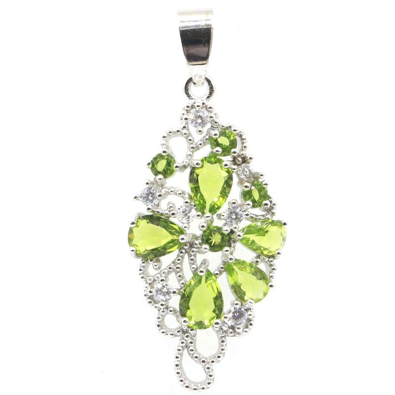 44x18mm Beautiful Created Green Peridot Rhodolite Garnet Tanzanite CZ Jewelry Making Silver Pendant