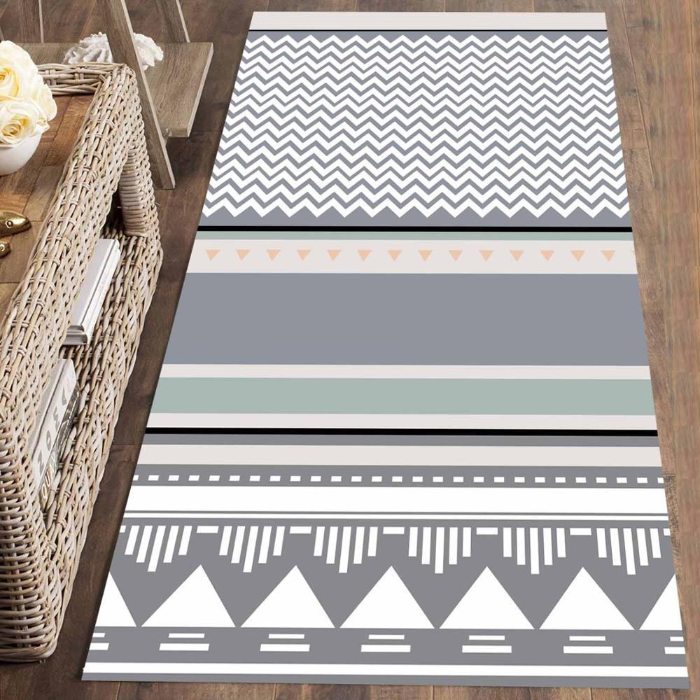 Else Gray Blue Ethnic Bohemian Geometric 3d Print Non Slip Microfiber Washable Long Runner Mat Floor Mat Rugs Hallway Carpets