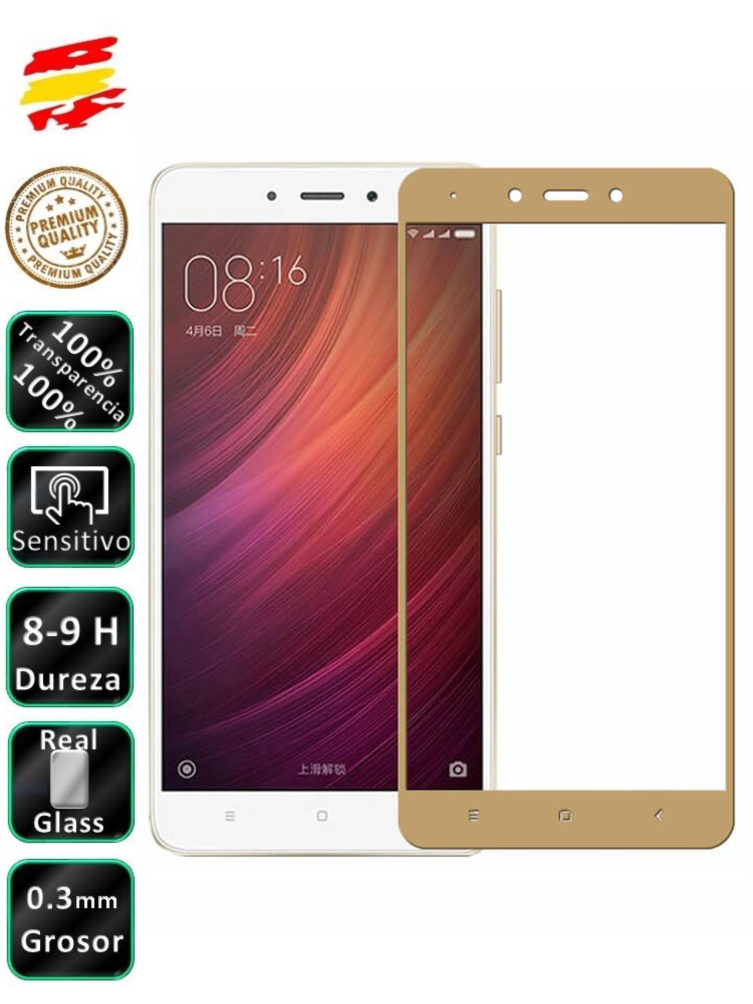 Protector Xiaomi Redmi Note 4X Golden 3D Full Screen Tempered Glass