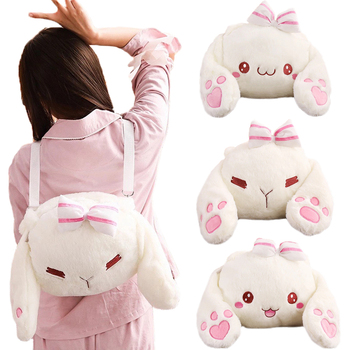 kawaii cute plush backpack metoo doll soft cartoon animal stuffed toy for girl kid children school shoulder bag for kindergarten Cute Plush Rabbit Backpack Japanese Kawaii Bunny Backpack Stuffed Rabbit Toy Children School Bag Gift Kids Toy For Little Girl