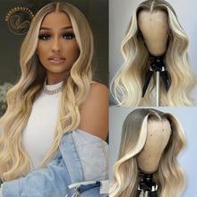 Парик Платиновый светлый с эффектом омбре, фронтальные волнистые волосы 13 х4, плотность 2 оттенков, цветные натуральные волосы