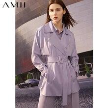Amii minimalismo primavera nuove donne Trench da donna moda solido risvolto doppio petto cintura cappotto da donna 12140116