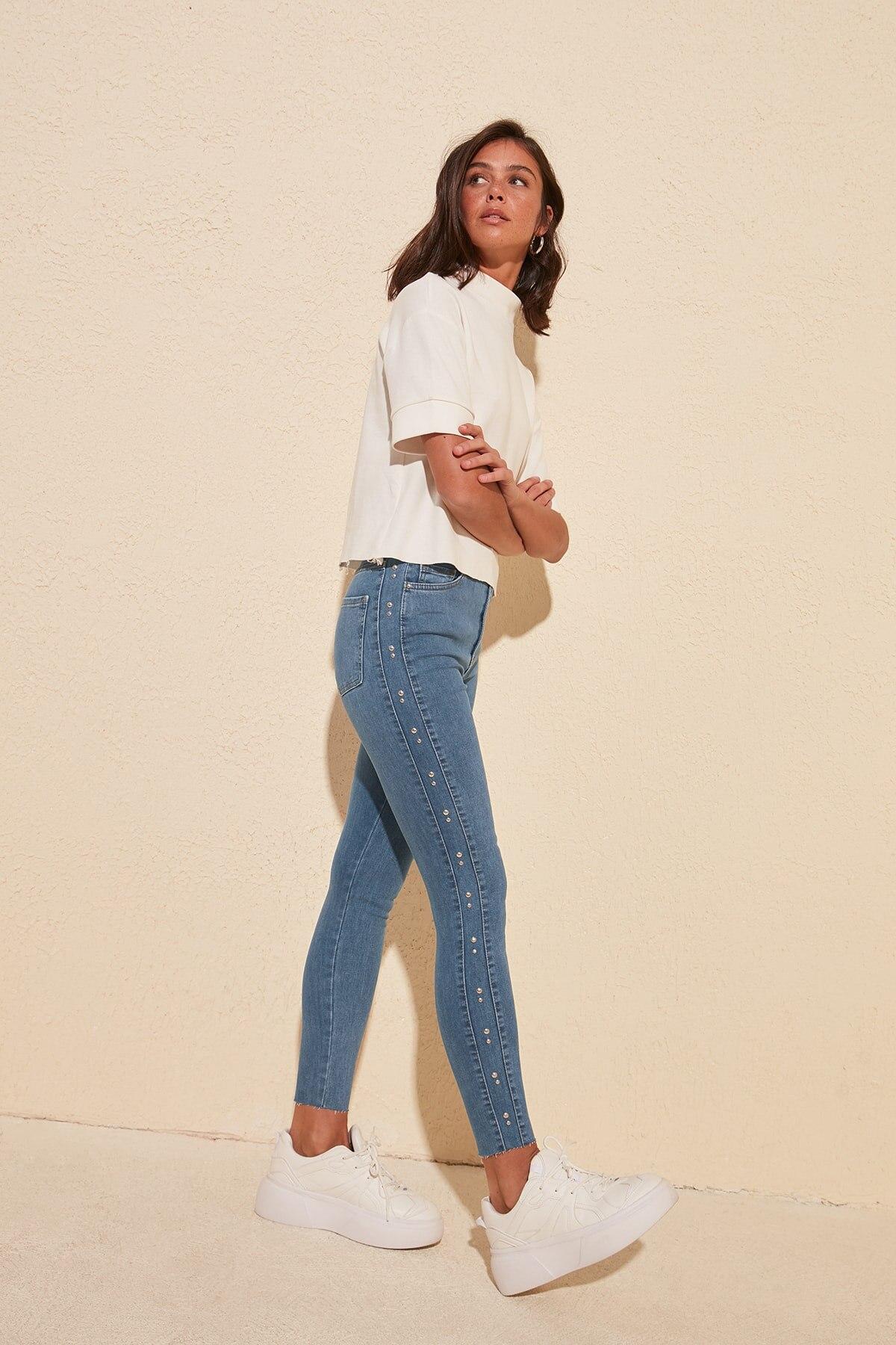 Trendyol Trok Detailed High Waist Skinny Jeans TWOSS20JE0278