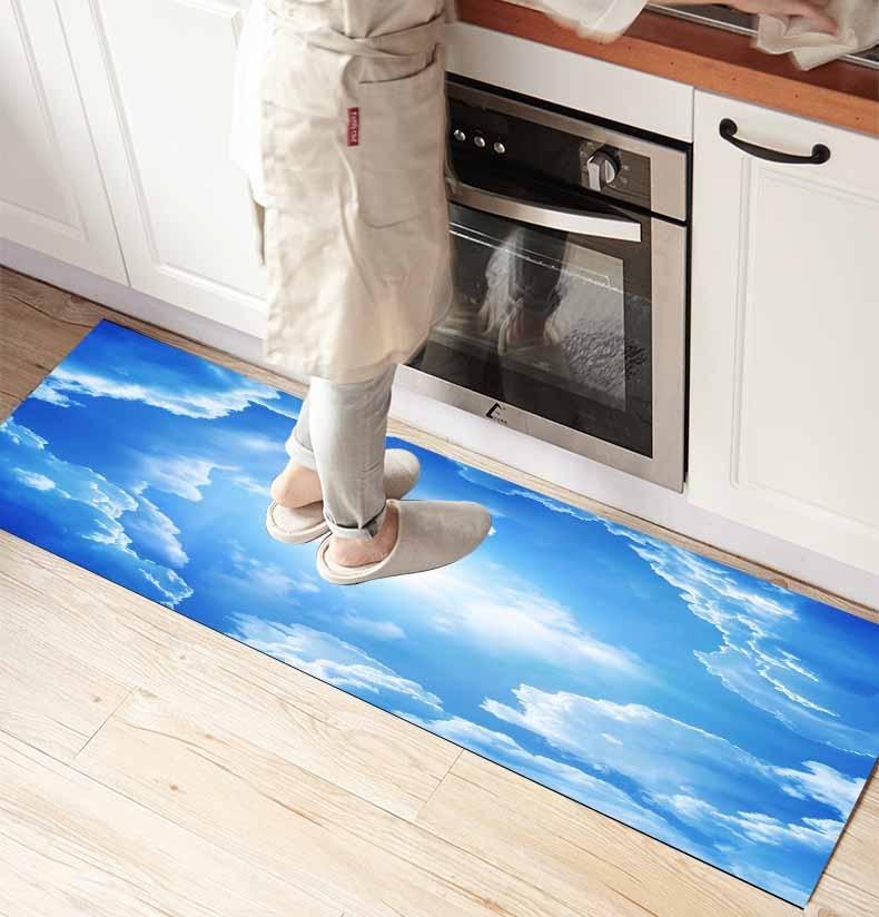 Else Blue Sky Clouds Shine Sun 3d Print Non Slip Microfiber Kitchen Counter Modern Decorative Washable Area Rug Mat