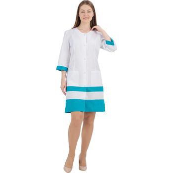 Female medical robe ivuniforma Olesya female medical robe ivuniforma olesya white with лиловыми inserts