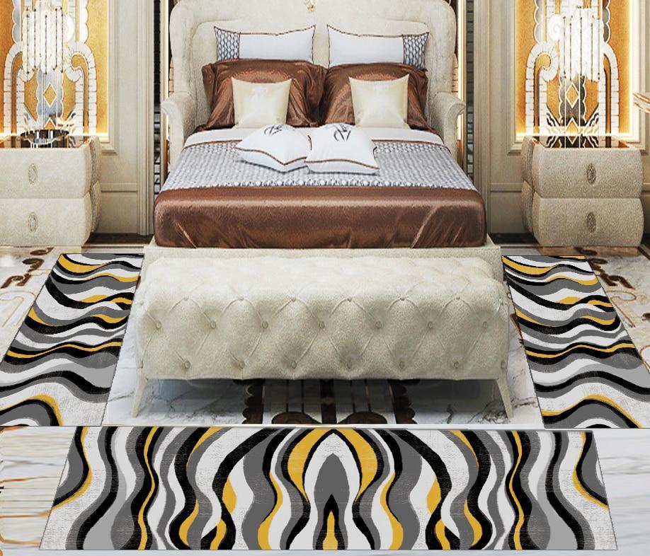 Else 3 Piece Grey Black Yellow Lines Geometric 3d Print Non Slip Microfiber Washable Decor Bedroom Hallway Area Rug Carpet Set
