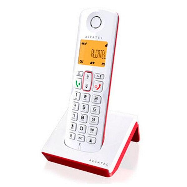 Беспроводной телефон Alcatel S-250 DECT SMS LED белый красный