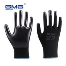 12 Pairs Mechanik Handschuhe GMG Schwarz Rot Weiß Polyester Schwarz Grau Nitril Beschichtung Sicherheit Arbeit Handschuhe Hand Handschuhe Für Arbeit