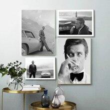 Cavalheiro espião filme 007 cartaz bond carros preto e branco ator imprime filme pintura em tela imagem da parede sala de estar decoração