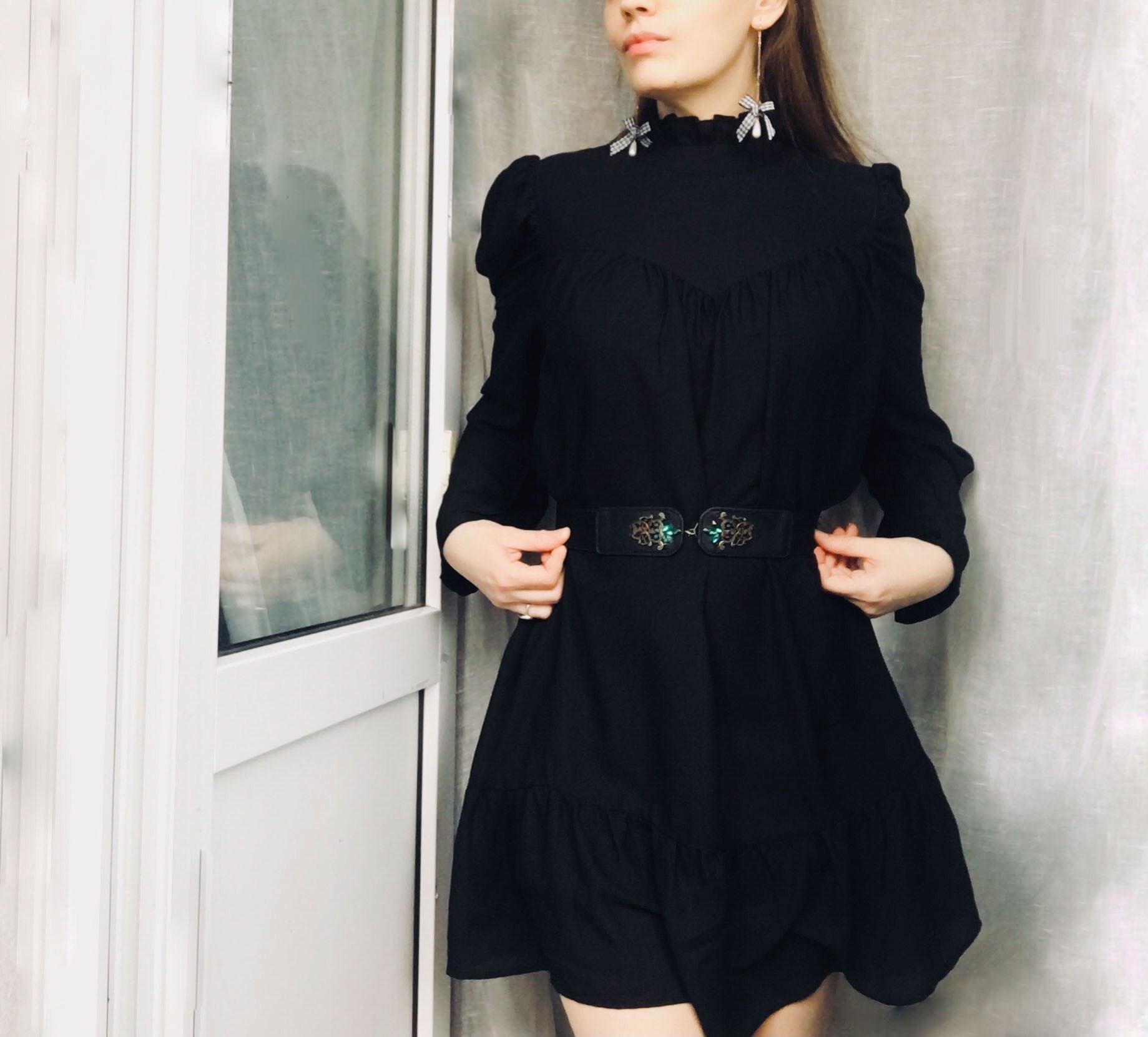Hot 2019 autumn new fashion women's temperament commuter puff sleeve small high collar natural A word knee Chiffon dress reviews №7 510447