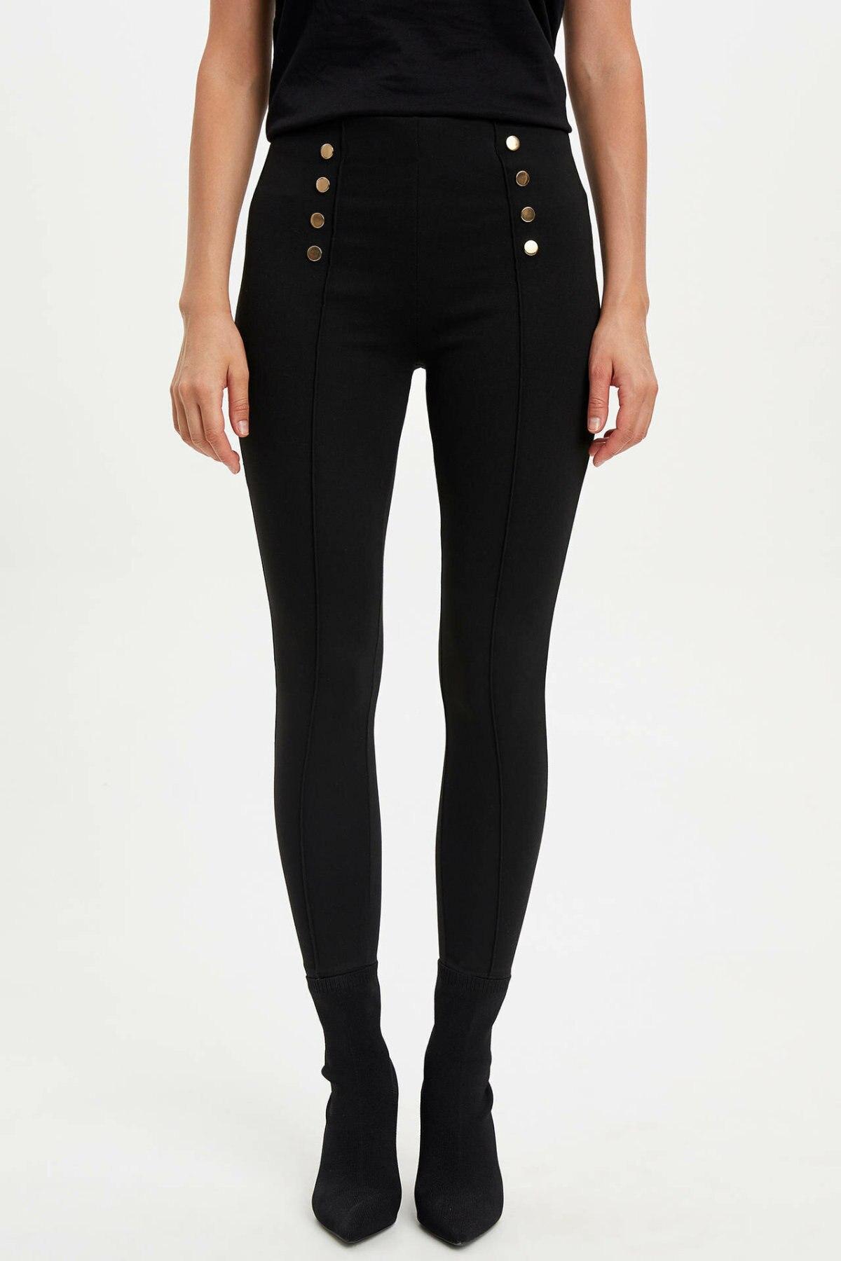 DeFacto Female Fashion Solid Leisure Slim Pants Trousers Women's Casual Double-breasted Pants Comfort Pants Ladies -K9484AZ19AU