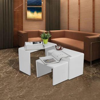 3 sztuk nowoczesny Design biały wysoka stabilność lakier lakier prostota drewno zaokrąglony kąt stoliki do kawy stoliki salon tanie i dobre opinie CN (pochodzenie) Jadalnia meble pokojowe Jadalnia zestaw Meble do domu Lacquer Varnish Tea Tables